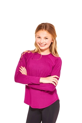 Girls Magenta Lace Shoulder Top