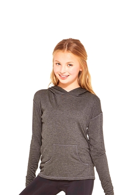 Terez - Girls Heather Charcoal Long Sleeve Hooded Top