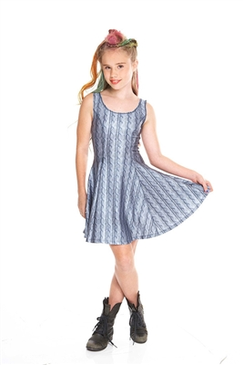 Terez - Girls Gray Cable Knit Skater Dress