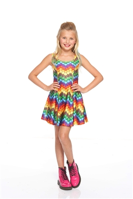 Terez - Girls Candy Crush Chevron Skater Dress