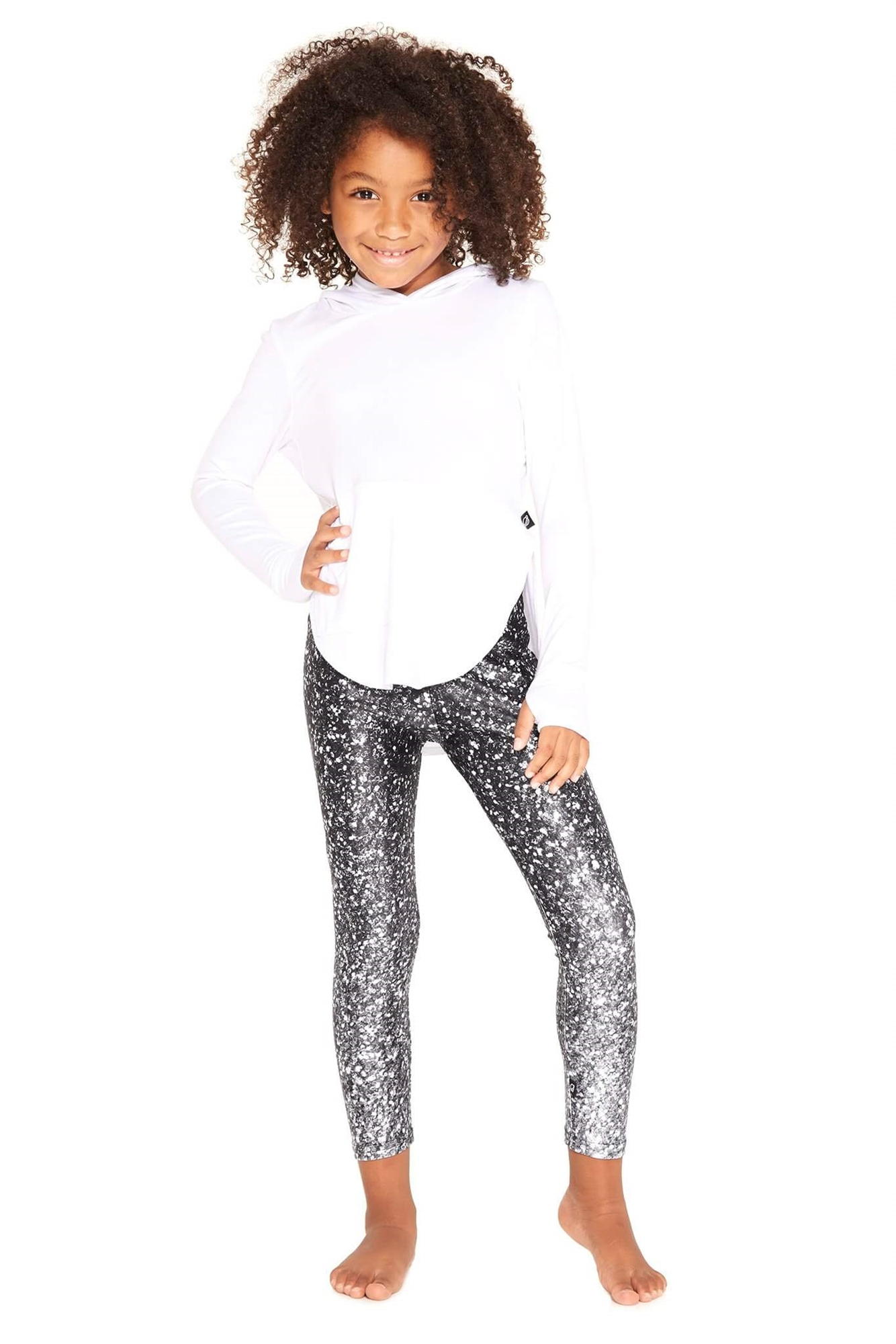 Terez Kids Black And White Glitter Leggings